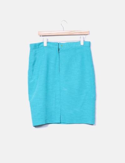 Falda azul turquesa texturizada