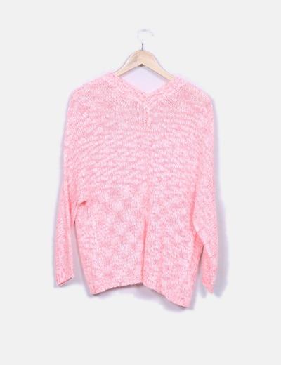 Cardigan de punto rosa jaspeado