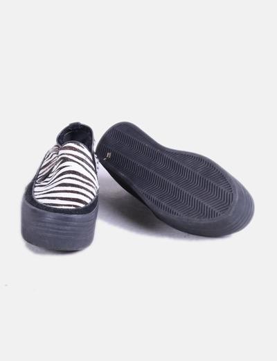 Zapato plataforma pelo zebra