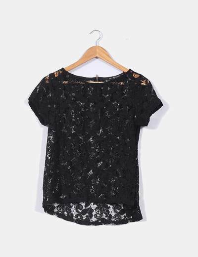 Camisablusa Negra Con Encaje Marca Zara