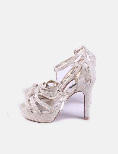 Zapato tacón dorado glitter Jaclín