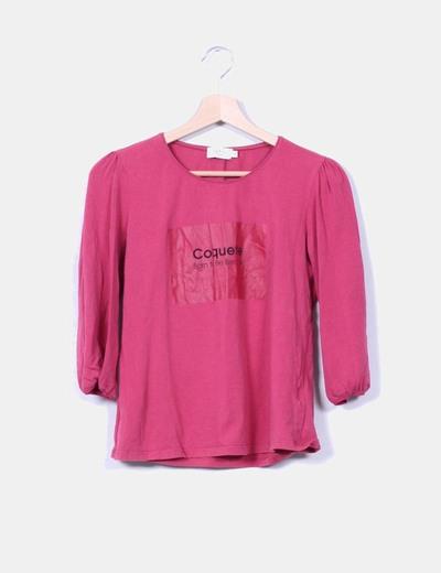 Top rosa print Coquette Cortefiel