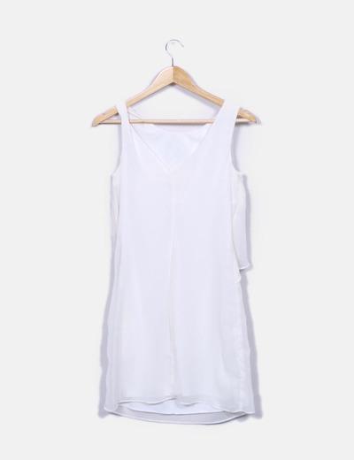 Vestido de gasa blanco con volante