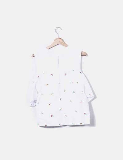Blusa blanca volante floral