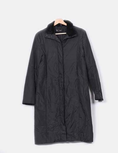 Abrigo negro acolchado combinado Mango