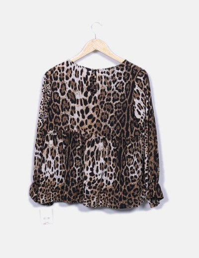 Blusa leopardo manga volante