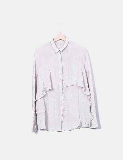 Camisa satinada beige