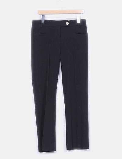 Pantalón negro detalle bolsillos animal print