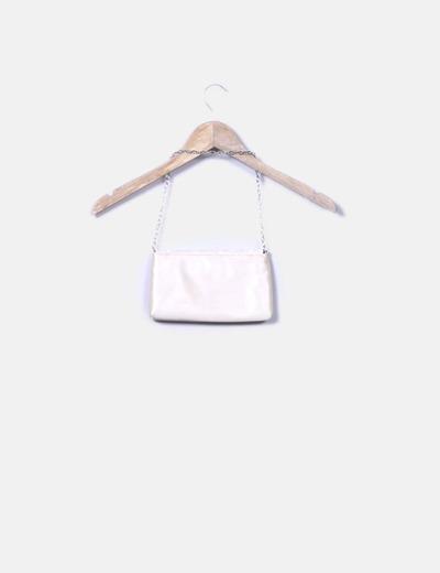 Bolso de mano blanco crudo satinado
