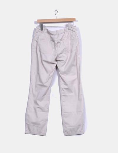 Pantalon fino beige ancho
