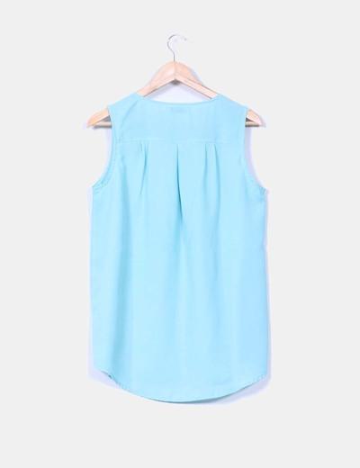 Blusa azul turquesa sin mangas