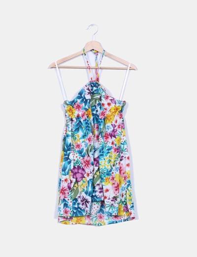 Camisola floral con tiras al cuello Suiteblanco