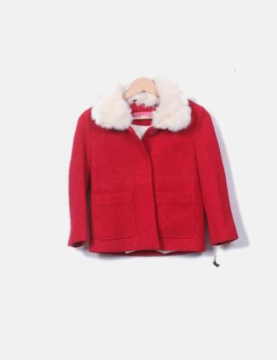 Trenca tricot roja con pelo