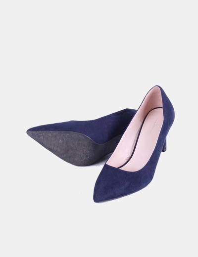 mejor servicio ea9e7 5fe85 Zapato salón azul marino de antelina