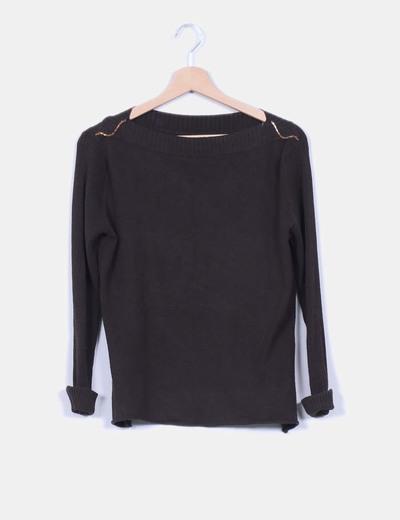 Jersey tricot marrón escotebarco strass detalle Torradas