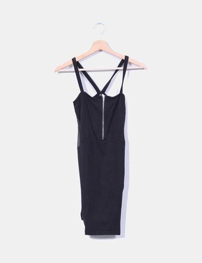 Vestido midi negro de tirantes combinado H&M