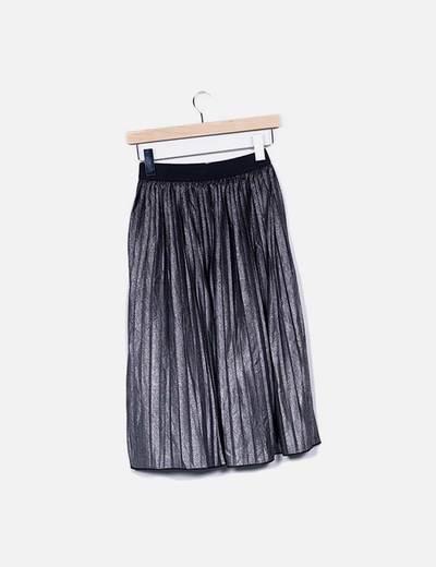 Falda midi tablas gris moteada