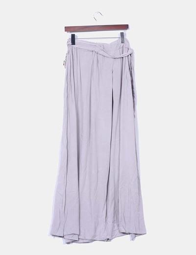 Falda larga taupe abertura lateral