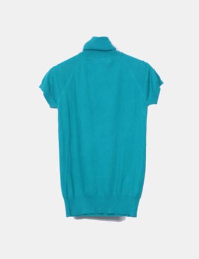 Top tricot verde cuello vuelto