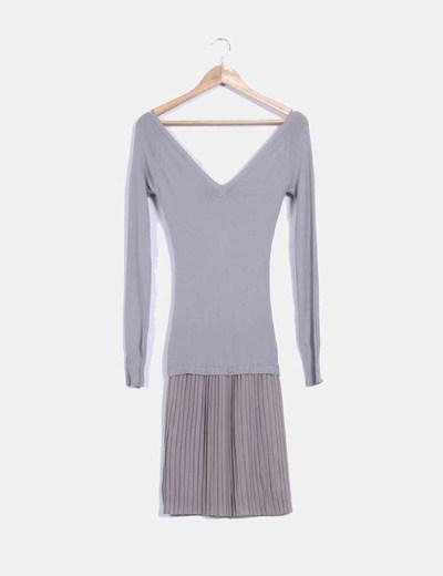 Vestido combinado gris Uru