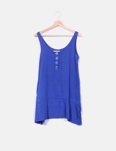 Vestido azul escote corchetes Lefties