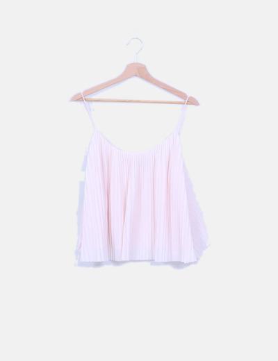 Blusa de tirantes plisada rosa