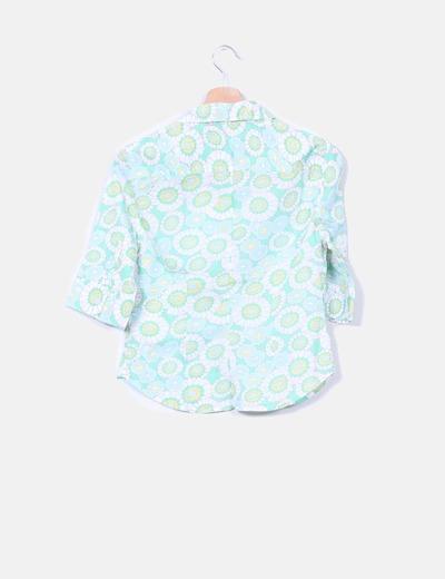 Camisa verde estampado floral