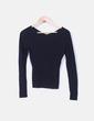 Suéter canalé negro escote pico Elisa