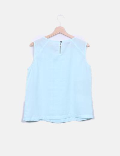Blusa azul clara manga sisa
