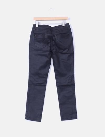 Pantalon recto negro encerado