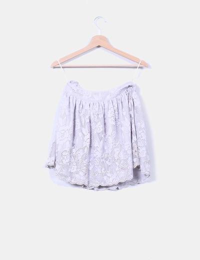 Falda mini gris calada