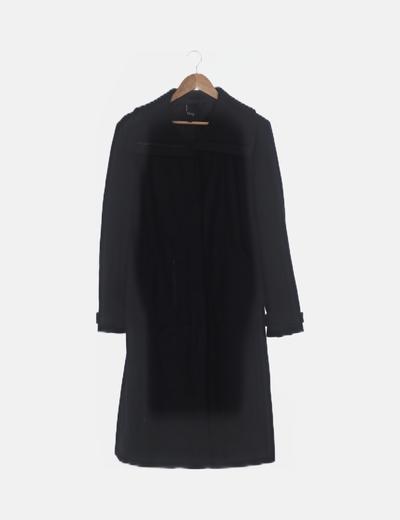 Abrigo largo negro detalle cremalleras