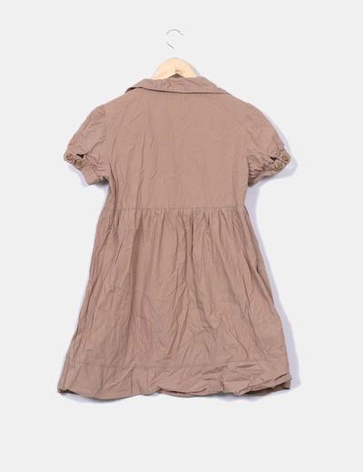 Vestido camel mangas farol