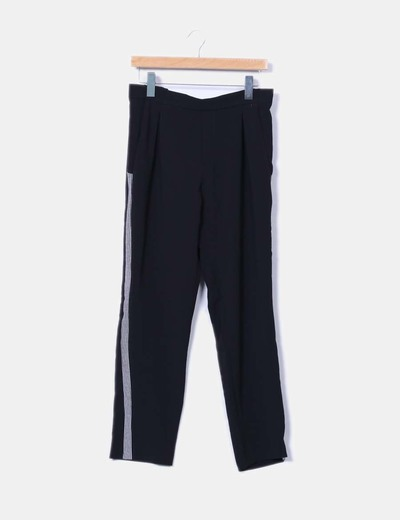 Pantalón recto con rayas blancas Zara