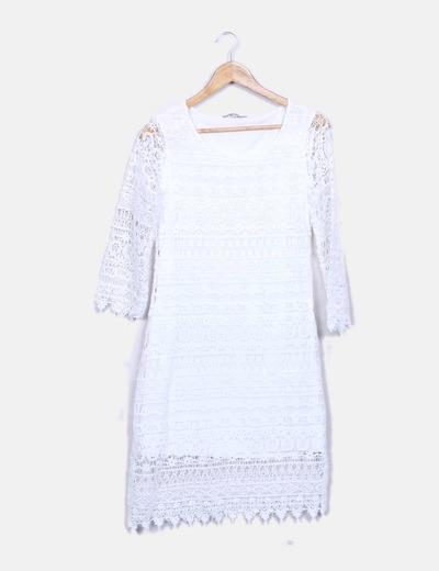 Vestido crochet blanco El Corte Inglés