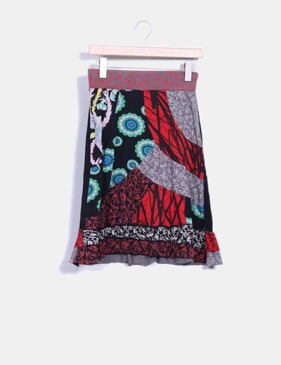Falda estampado multicolor  Desigual