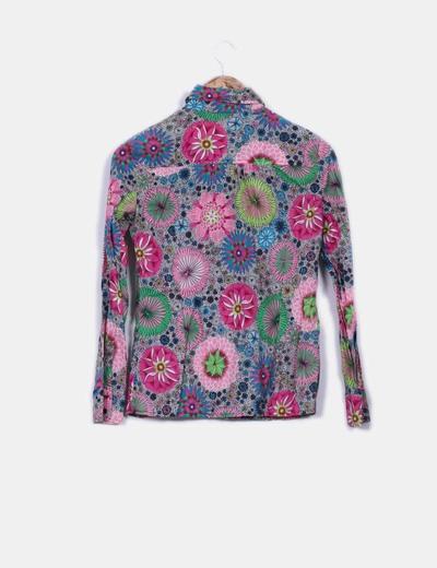 Camisa estampada floreada manga larga