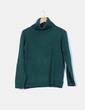 Jersey de punto verde botella con cuello vuellto Easy Wear