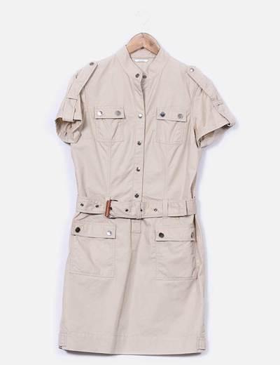 Vestido  beige estilo safari Massimo Dutti