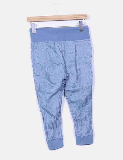 Pantalon pirata raso azul