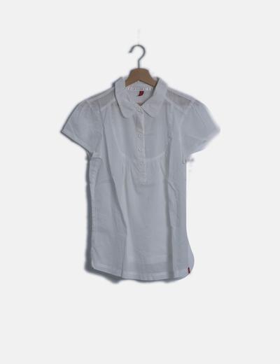 Blusa camisera blanca texturizada