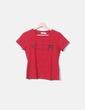 T-shirt rouge imprimé avec strass Moschino