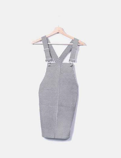 Black gingham check overalls Forever 21