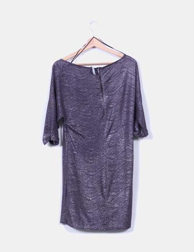 Vestido plateado con brillos texturizado