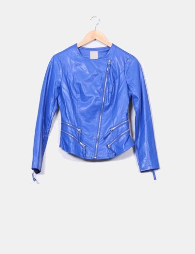 9d73d21fe8f1f Silvian Heach Cazadora biker azul klein (descuento 63%) - Micolet