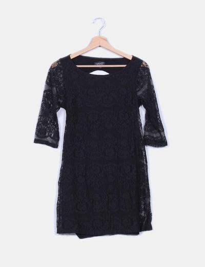 Vestido negro de encaje  Topshop