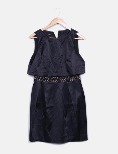 Vestido negro satinado detalle encaje Suiteblanco