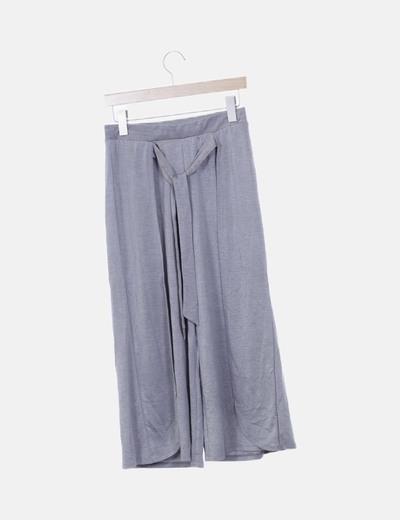 Pantalón culotte fluido gris