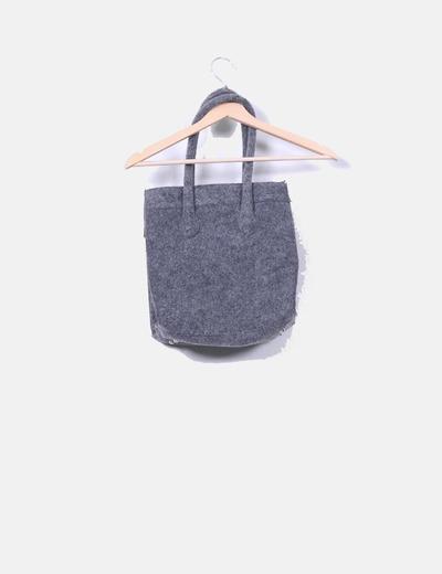 Bolso shopper gris tela