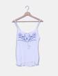 Top blanco drapeado bordados azul marino NoName
